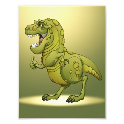 Dinossauro feliz dos desenhos animados que dá os p foto