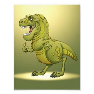 Dinossauro feliz dos desenhos animados que dá os p impressão de foto