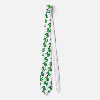 Dinossauro irritado verde gravata