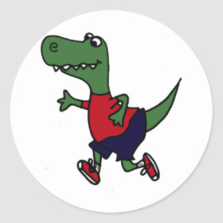 Dinossauro movimentando-se engraçado de Trex Adesivo Em Formato Redondo