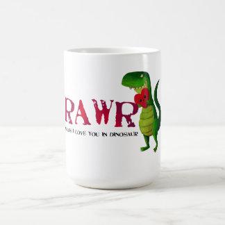 Dinossauro romântico de RAWR T-rex Caneca De Café