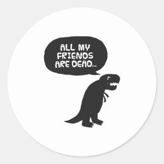 Dinossauro triste adesivos em formato redondos