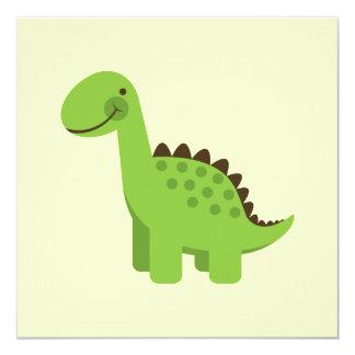 Dinossauro verde bonito convite quadrado 13.35 x 13.35cm