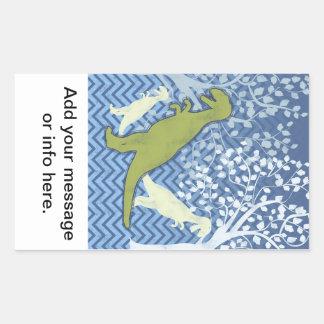 Dinossauro verde no ziguezague Chevron - azul e Adesivo Retângular