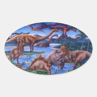 Dinossauros Adesivo Oval