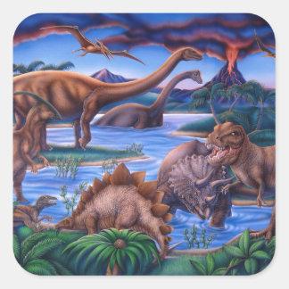 Dinossauros Adesivo Em Forma Quadrada