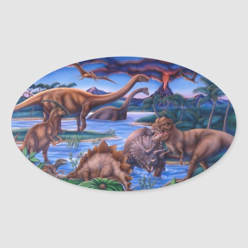 Dinossauros Adesivos Em Formato Ovais