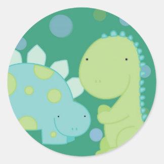 dinossauros, azul e verde, etiqueta, bonito, adesivo redondo
