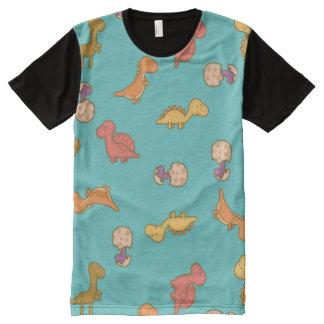 Dinossauros bonitos camisetas com impressão frontal completa