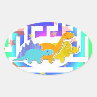 Dinossauros bonitos em etiquetas de um labirinto adesivos oval