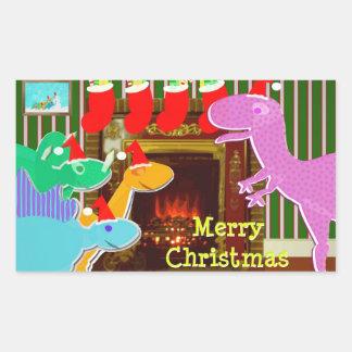 Dinossauros bonitos pelas etiquetas do Natal da Adesivo Retangular