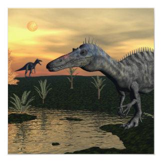 Dinossauros de Suchomimus - 3D rendem Convite Quadrado 13.35 X 13.35cm