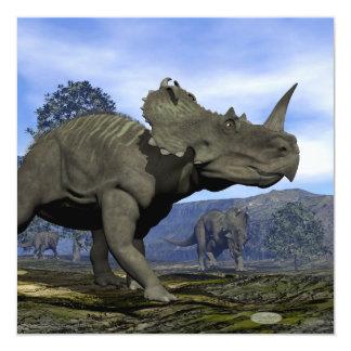 Dinossauros do Centrosaurus - 3D rendem Convite Quadrado 13.35 X 13.35cm