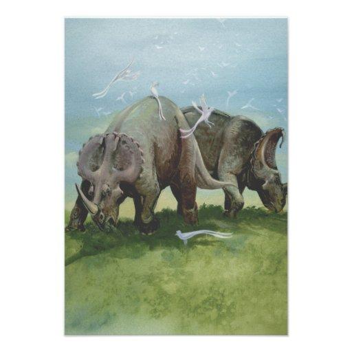 Dinossauros do Centrosaurus do vintage no prado Convites