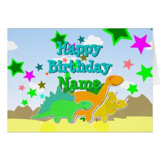 Dinossauros do feliz aniversario seu cartão
