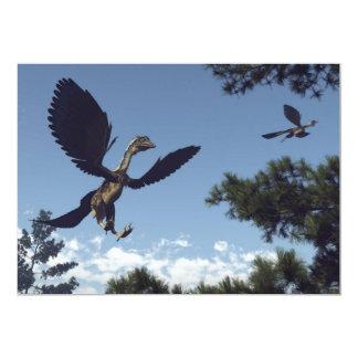 Dinossauros dos pássaros do Archaeopteryx que voam Convite 12.7 X 17.78cm