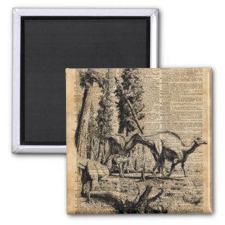 Dinossauros na arte do dicionário do vintage da ímã quadrado