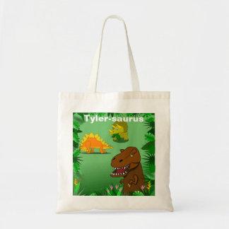 Dinossauros no saco reusável personalizado selva sacola tote budget