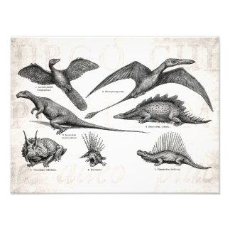 Dinossauros retros da ilustração do dinossauro do impressão fotográfica