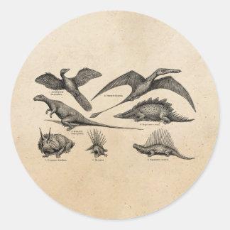 Dinossauros retros da ilustração do dinossauro do  adesivos em formato redondos