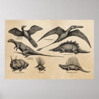 Dinossauros retros da ilustração do dinossauro do pôster