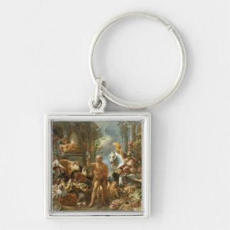 Diogenes que procurara por um homem honesto, c.165 chaveiro quadrado na cor prata
