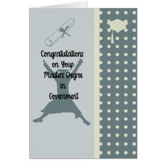 Diploma de mestrado no cartão do governo