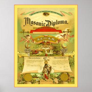 Diploma maçónico (1891) pôsteres