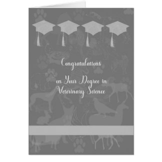Diploma no cartão da ciência veterinária, cinzento