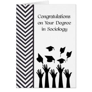 Diploma no cartão da Sociologia preto e branco