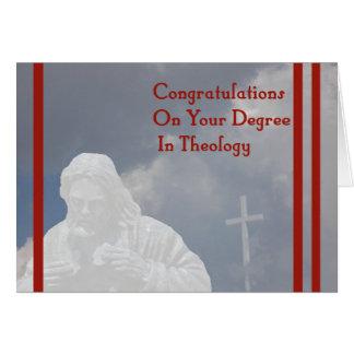 Diploma no cartão da teologia com deus e cruz