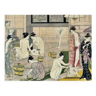 Diptych das mulheres do Bathhouse por Torii, Cartão Postal