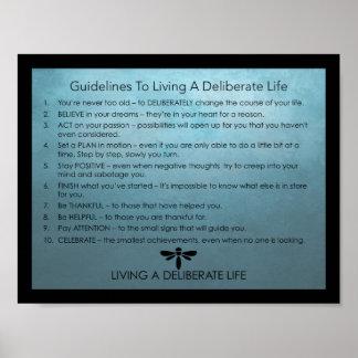 Directrizes para viver uma vida deliberada pôster