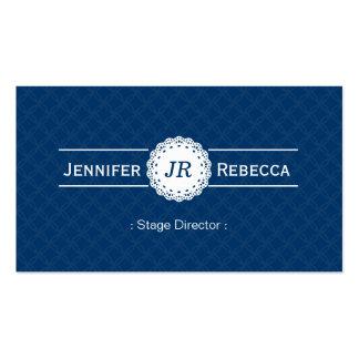 Diretor de palco - azul moderno do monograma cartão de visita