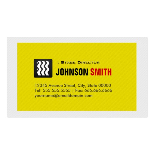 Diretor de palco - branco amarelo urbano cartões de visitas
