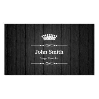 Diretor de palco grão de madeira preta real cartão de visita
