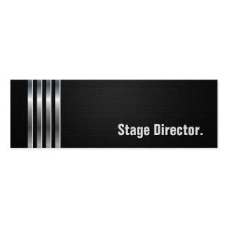 Diretor de palco - listras de prata pretas cartão de visita skinny