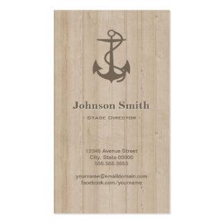 Diretor de palco - madeira náutica da âncora cartão de visita