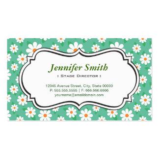 Diretor de palco - margarida verde elegante cartão de visita