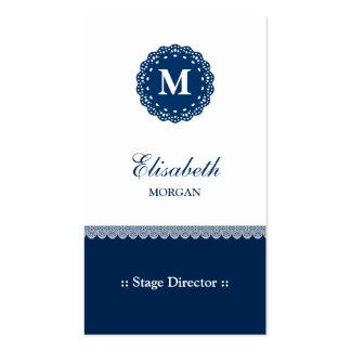 Diretor de palco - monograma azul elegante do laço cartão de visita