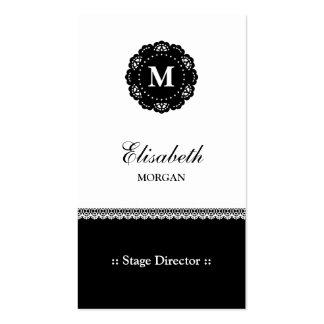 Diretor de palco - monograma preto elegante do cartão de visita