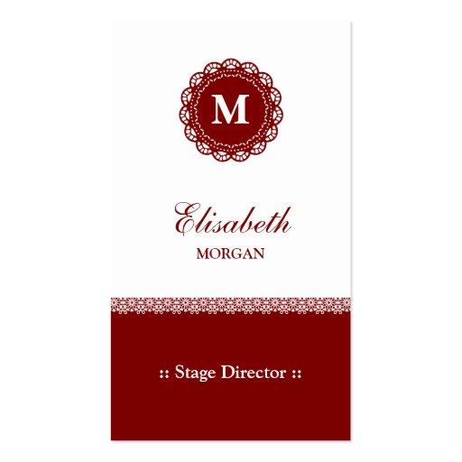 Diretor de palco - monograma vermelho elegante do  modelo cartoes de visita