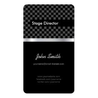 Diretor de palco - tabuleiro de xadrez preto elega cartão de visita
