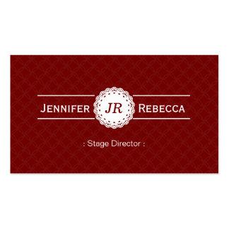 Diretor de palco - vermelho moderno do monograma cartão de visita