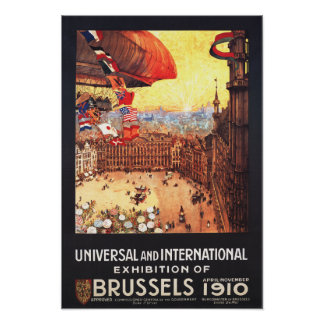 Dirigível de Lebaudy com as bandeiras do mundo na  Pôster