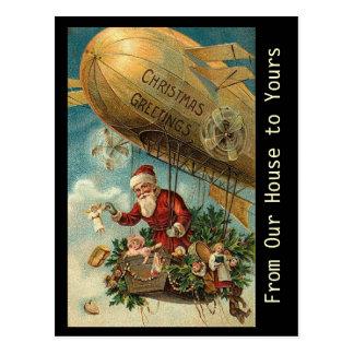 Dirigível do Natal do papai noel do vintage - Cartão Postal