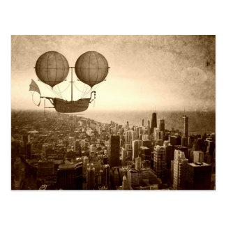 Dirigível sobre Chicago Cartão Postal