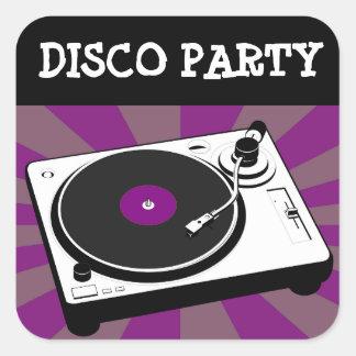 Disco que dança etiquetas temáticos da festa de