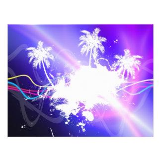 Disposição colorida do Grunge das palmeiras Panfletos Personalizados