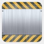 Disposição escovada da construção do perigo do adesivo quadrado